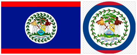Belize flag and coat of arms