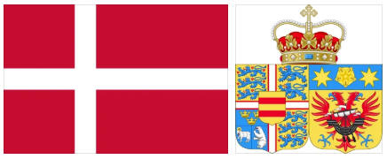 Denmark flag and coat of arms