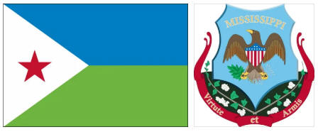 Djibouti flag and coat of arms