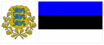 Estonia flag and coat of arms