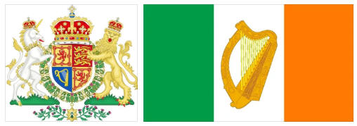 Ireland flag and coat of arms