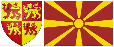 Macedonia flag and coat of arms