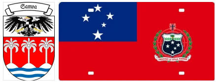 Samoa flag and coat of arms