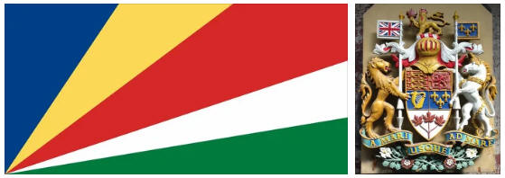Seychelles flag and coat of arms
