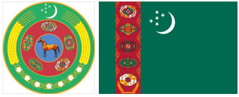 Turkmenistan flag and coat of arms