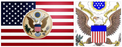 United States flag and coat of arms